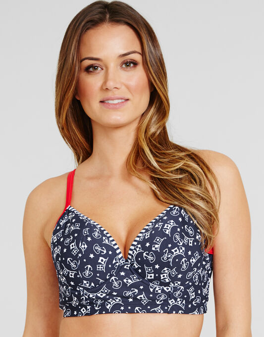 figleaves Anchor Longline Underwired Padded Bikini Top