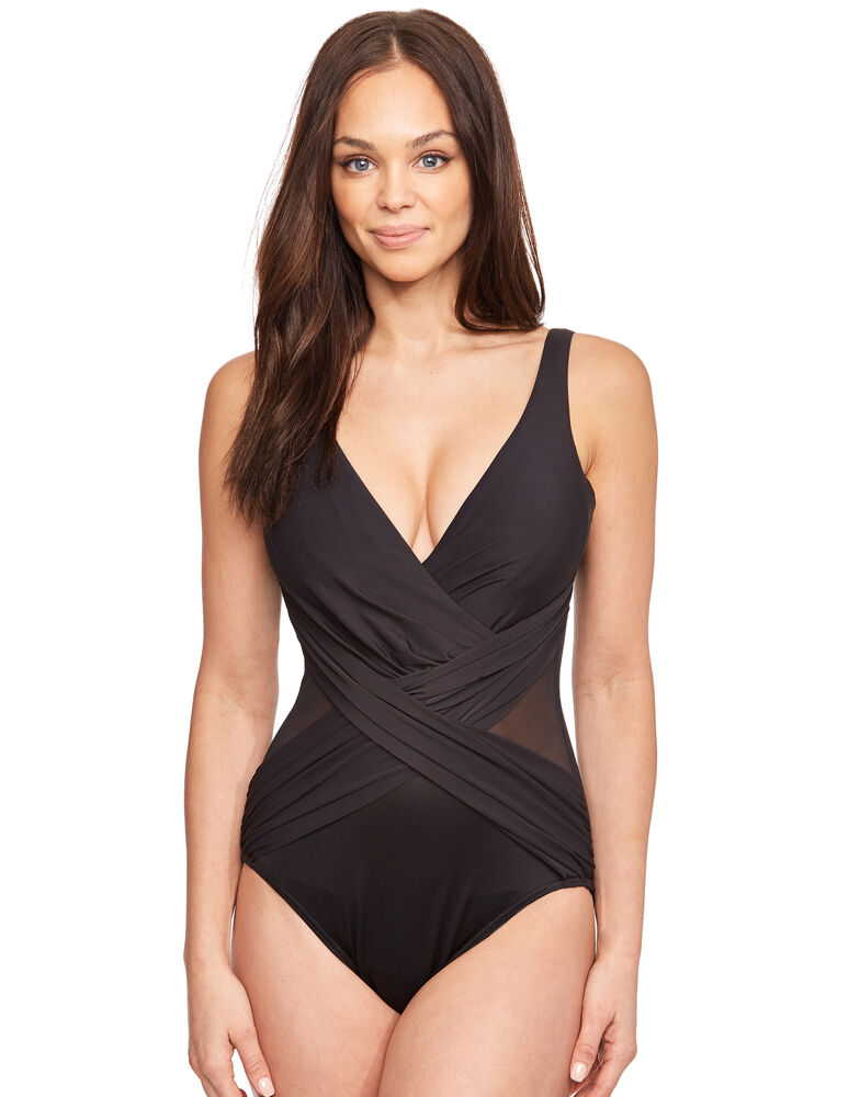 Solid Colour Crossover Soft Cup Swimsuit