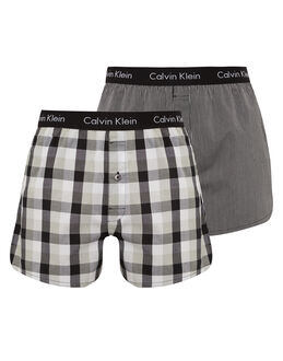 Calvin Klein 2 Pack Slim Fit Woven Boxer