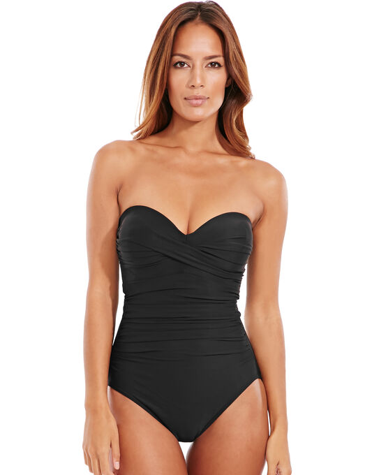 Miraclesuit Black Must Haves Barcelona Underwired Firm Control Bandeau Swimsuit