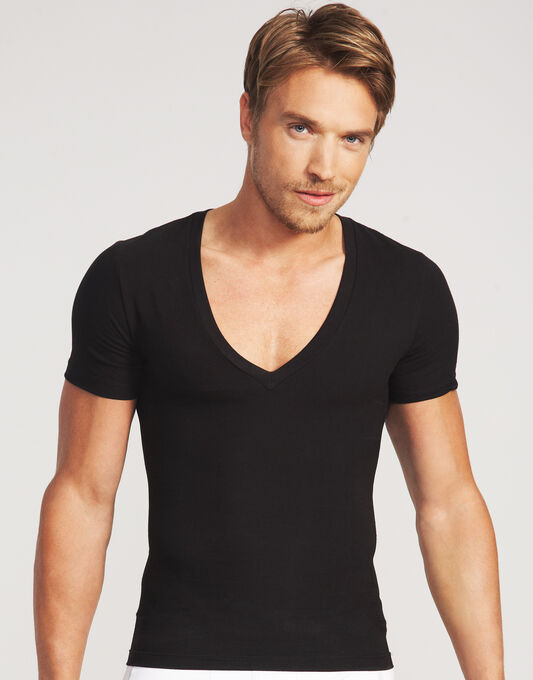 Cotton Compression Deep V Neck T-shirt