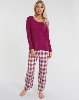Cyberjammies Scarlet Heart Dobby Check Pant Set With Knit Top