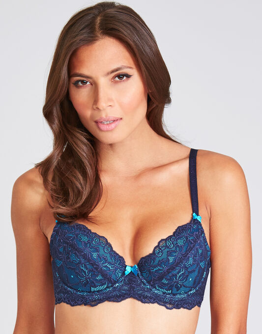figleaves Just Peachy Lace Padded Balconette Bra (A-DD)