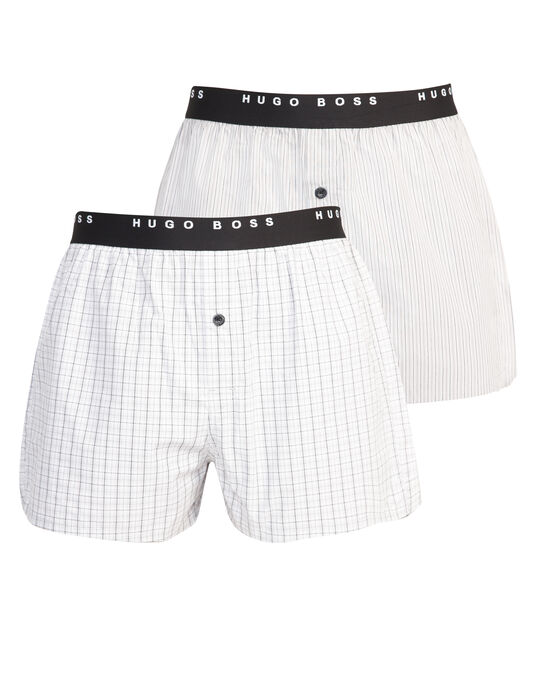 BOSS Black 2 Pack Woven Button Front Boxer