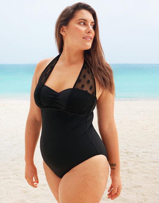 figleaves Icon Spot Mesh Underwired Halter Swimsuit- Longer Length