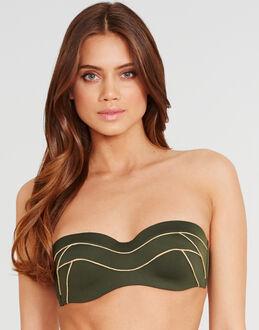 Huit Shiny Bali Padded Strapless Bikini Top