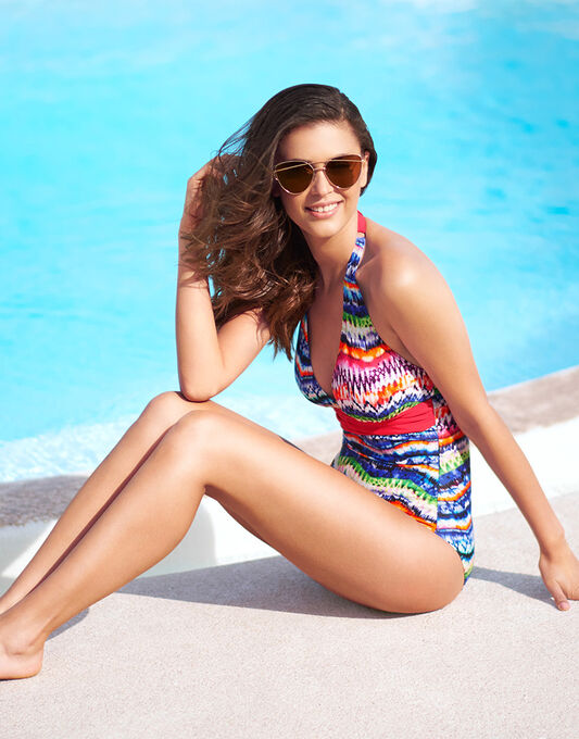 figleaves Lima Halter Tummy Control Swimsuit