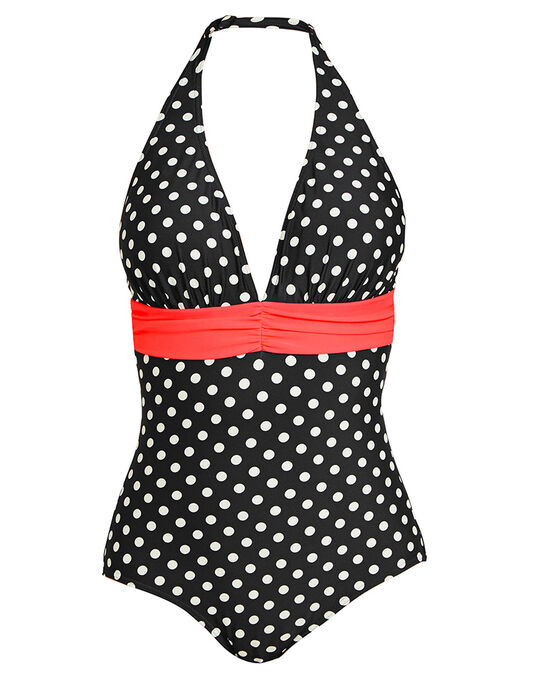 figleaves Tuscany Spot Halter Tummy Control Swimsuit