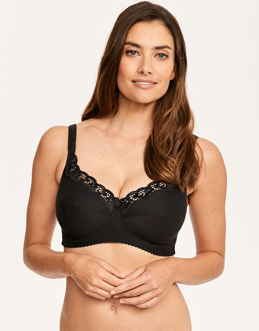 Emma Jane Cotton Drop Cup Nursing Bra With Lace