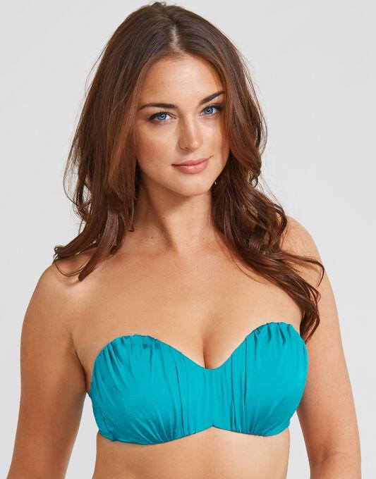 Maha Ruched Padded Underwired Bandeau Bikini Top