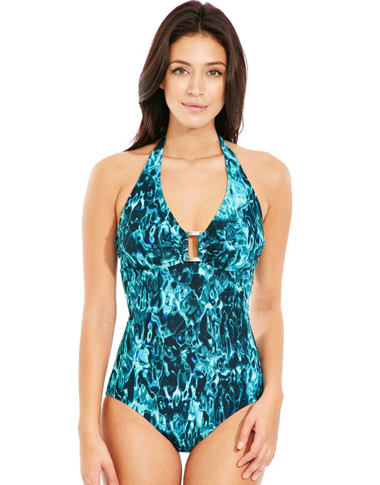 figleaves Deep Sea Soft Cup Halter Tummy Control Swimsuit