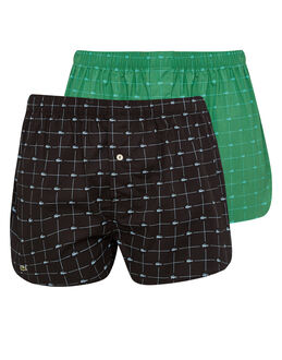 Lacoste Signature Print 2 Pack Woven Boxer