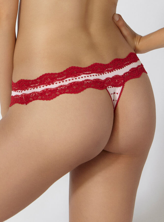 Tatiana heart stripe thong