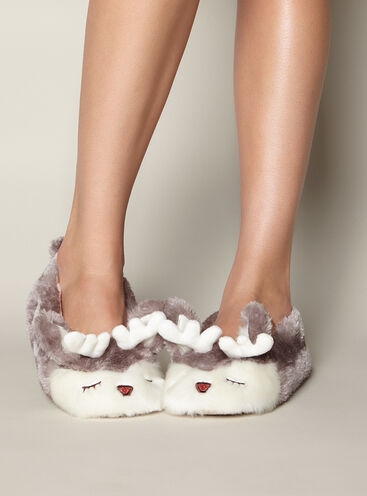 Reindeer faux fur slippers