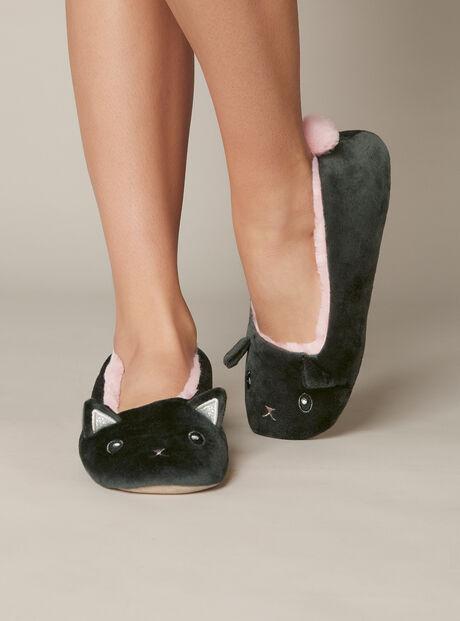 Velvet cat slippers