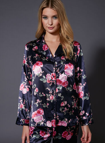 Japanese rose printed PJ top