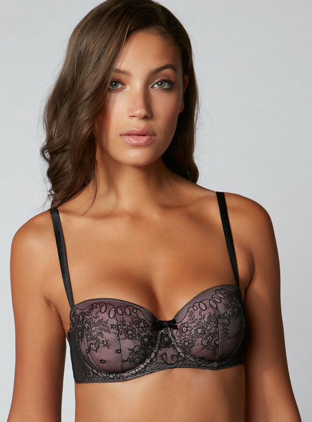 Sleek lace balconette bra