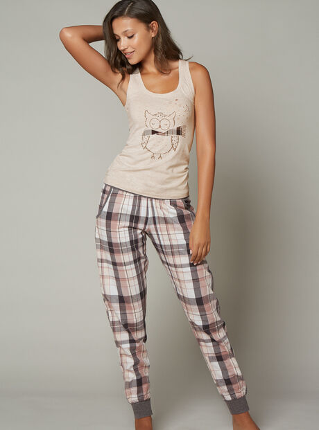 Owl vest and check pants set