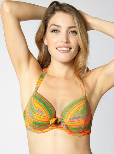 Stripe full support bikini top