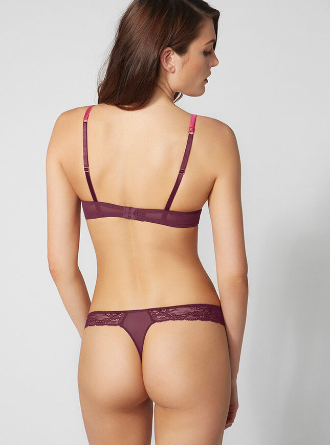 Sylvia satin and lace thong