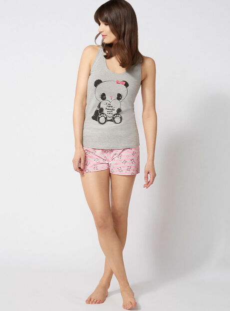 Panda vest and shorts pyjamas