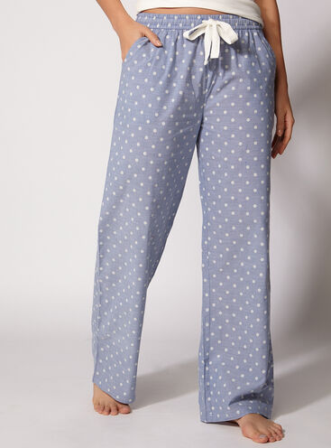 Kristy polka dot chambrey pants
