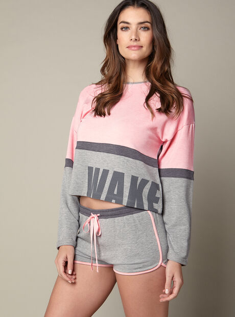 """Wake up"" sweater and shorts"