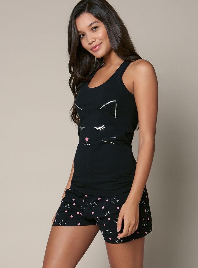 Cat vest and shorts pyjama set