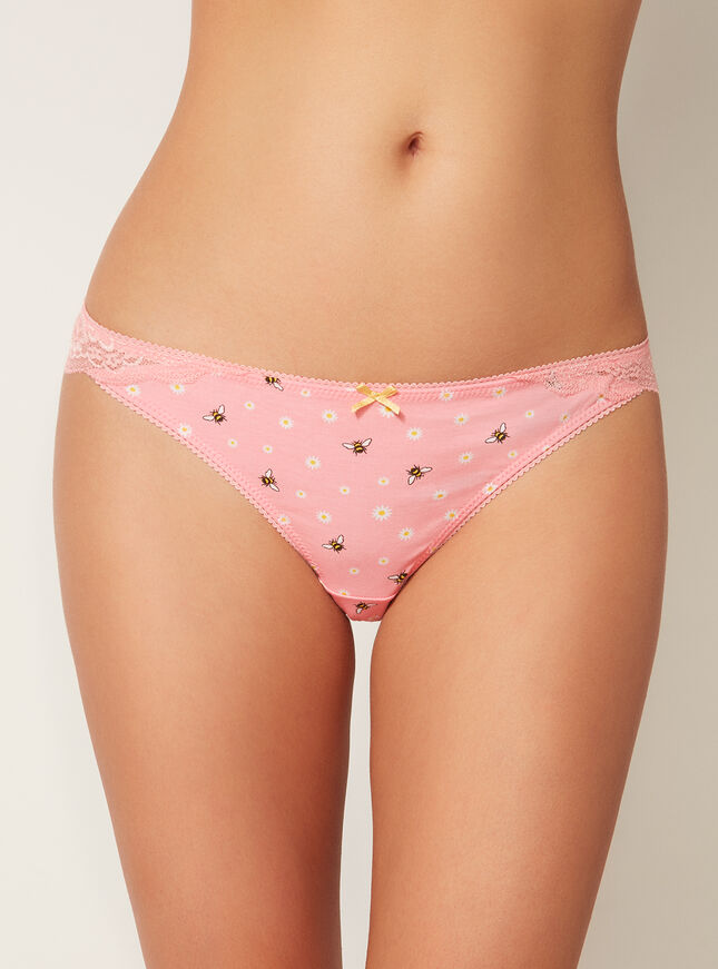 Bumble bee lace back briefs