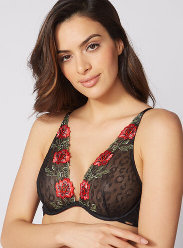 Jinny rose embroidered non-padded plunge bra