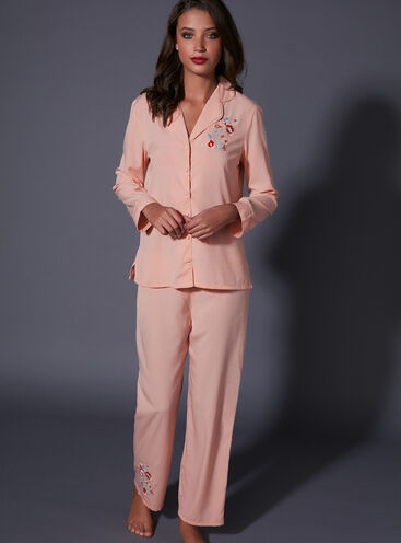 Embroidered hummingbird pyjama set