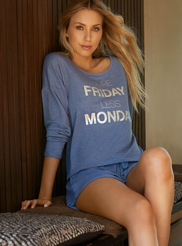 """More Friday"" sweater and shorts set"