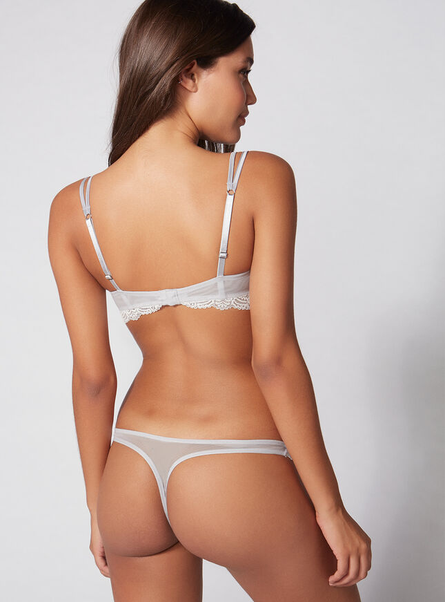 Annette satin and lace thong