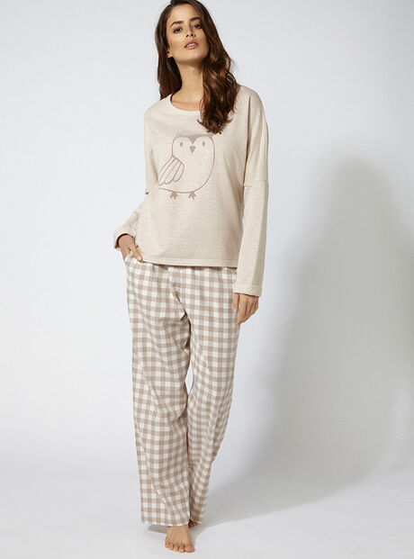 Owl top and pants pyjama set
