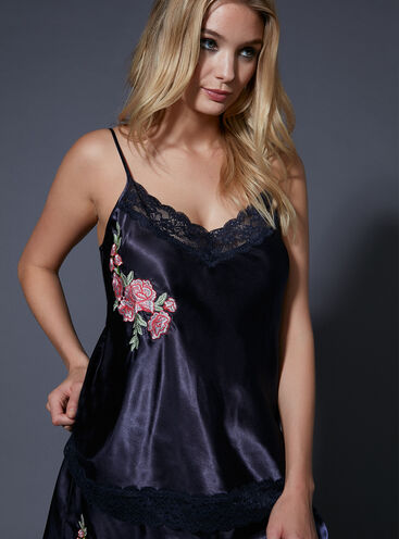 Japanese rose embroidered camisole