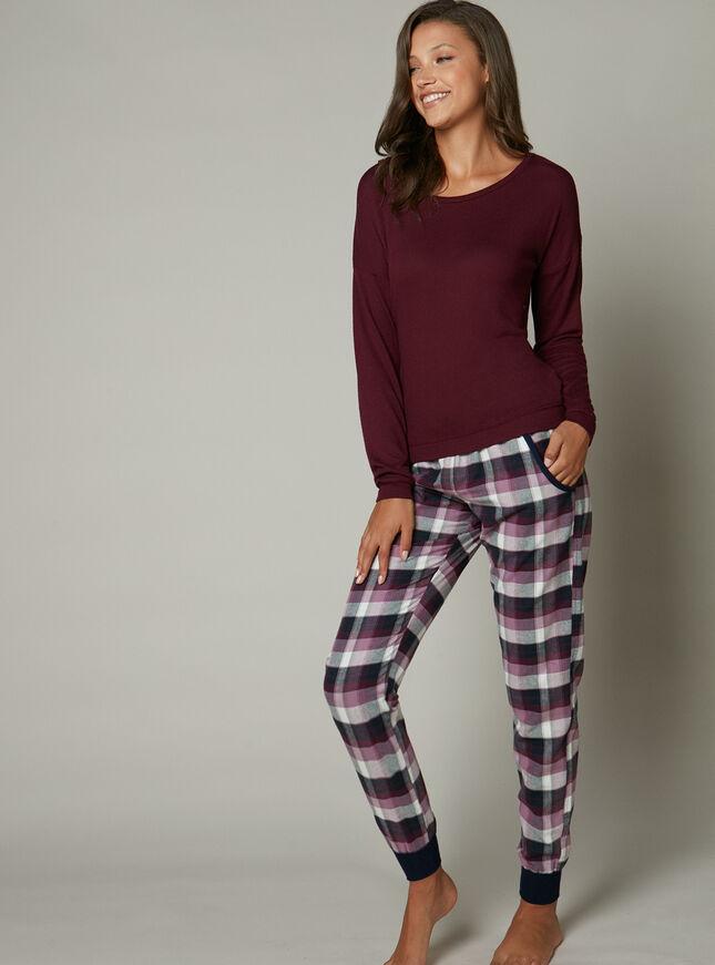 Square check cuffed pants