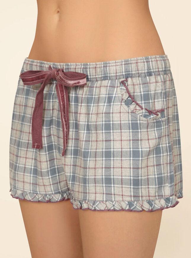 Cosy nights check shorts
