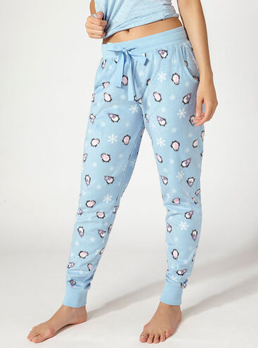 Minky chilly penguin fleece pants
