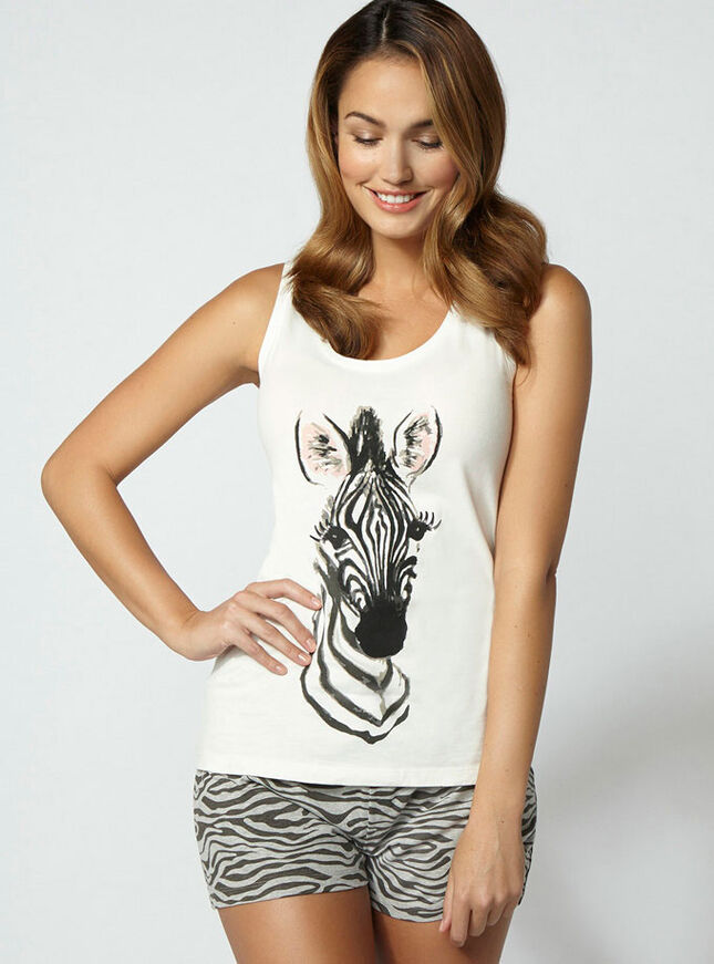 Zingy zebra vest and shorts pyjamas
