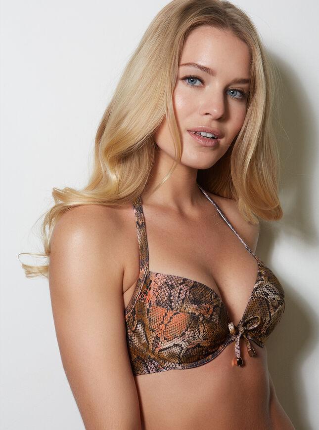 Snake print bikini top