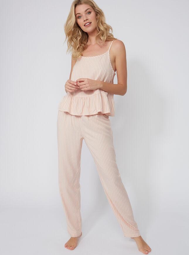Stripe peplum pyjama set