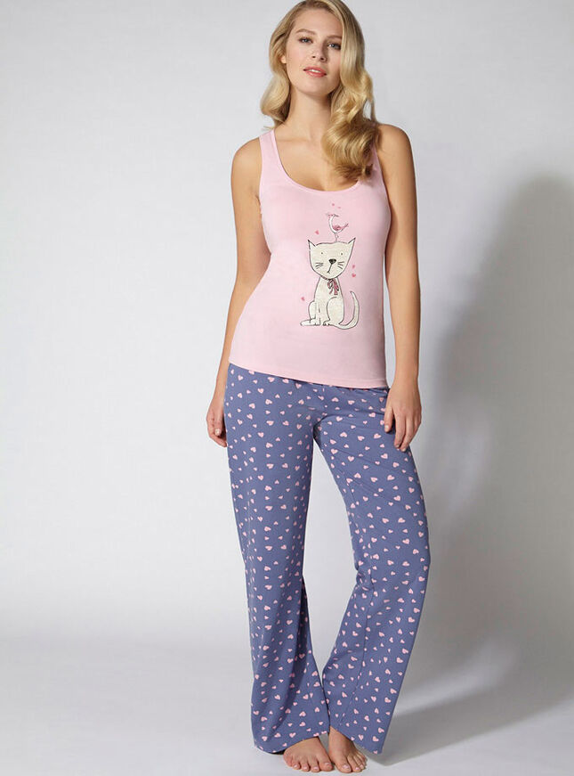 Cat and bird print pyjama set