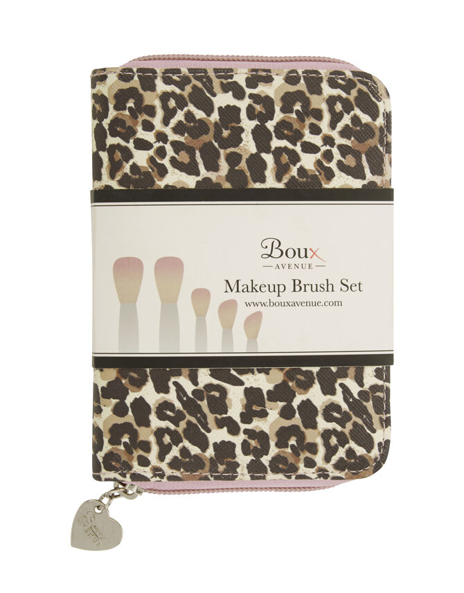 Leopard makeup brush set