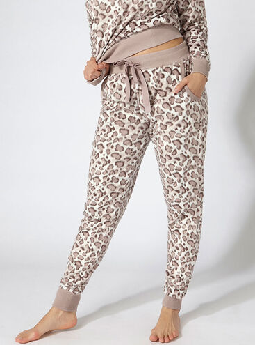 Minky leopard fleece pants