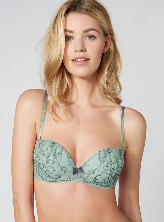 Orchid embroidered balconette bra