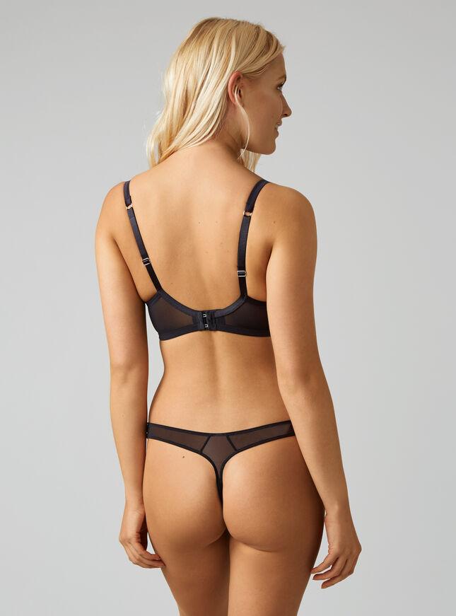 Samantha satin and lace thong