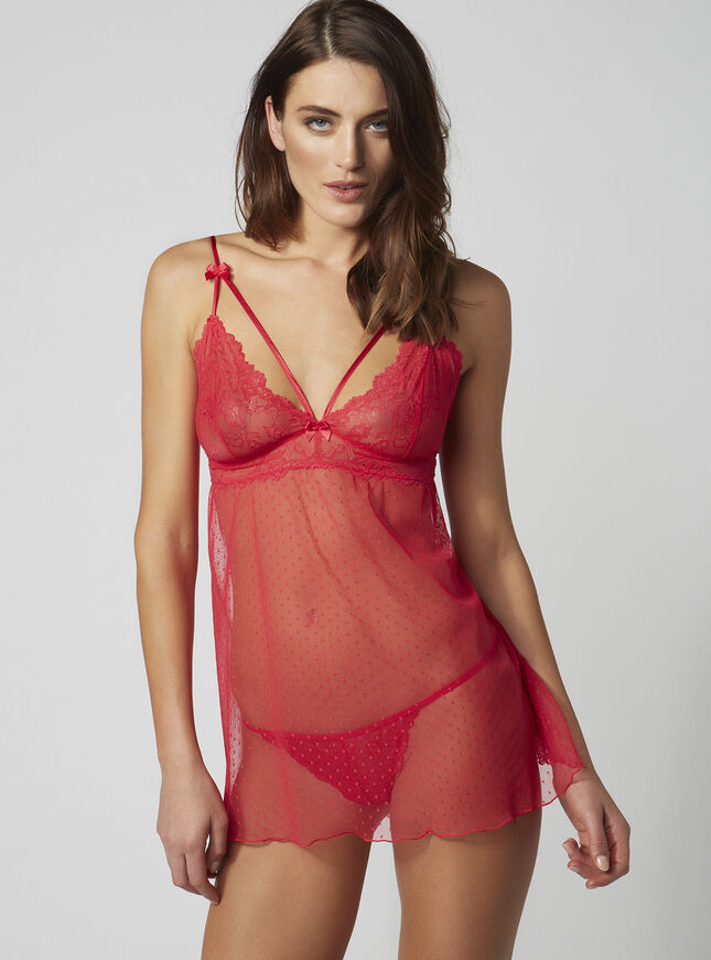 Stella strappy chemise and thong