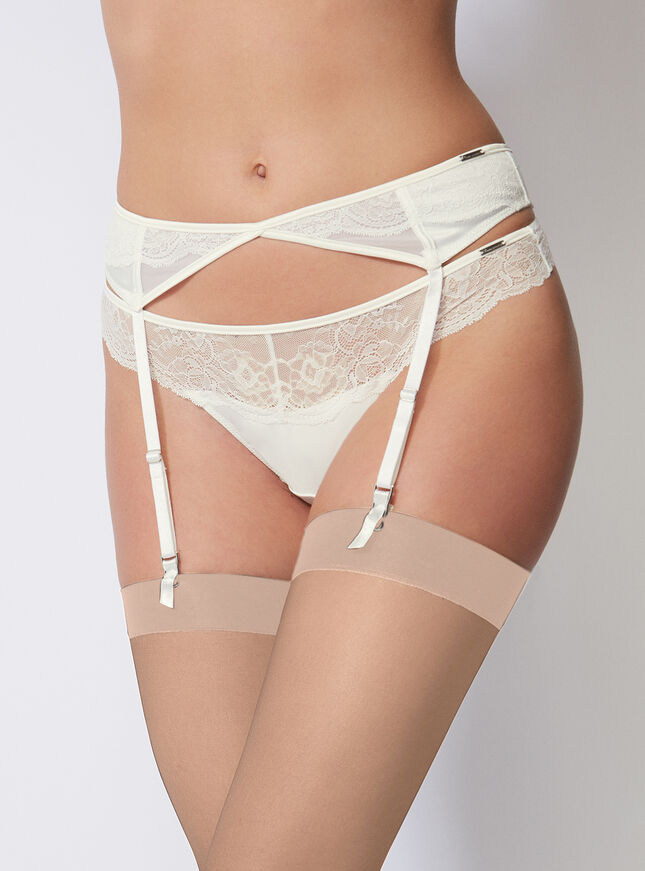 Tabitha satin suspender belt