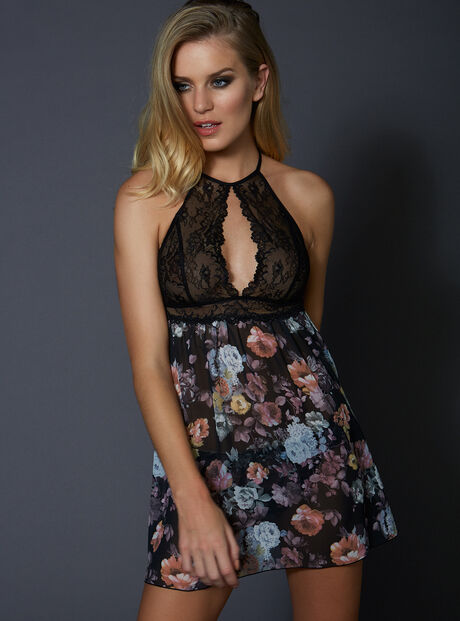 Dark rose chemise and briefs