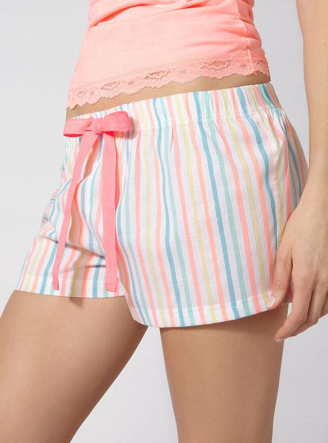 Camisole and rainbow stripe shorts pyjama set